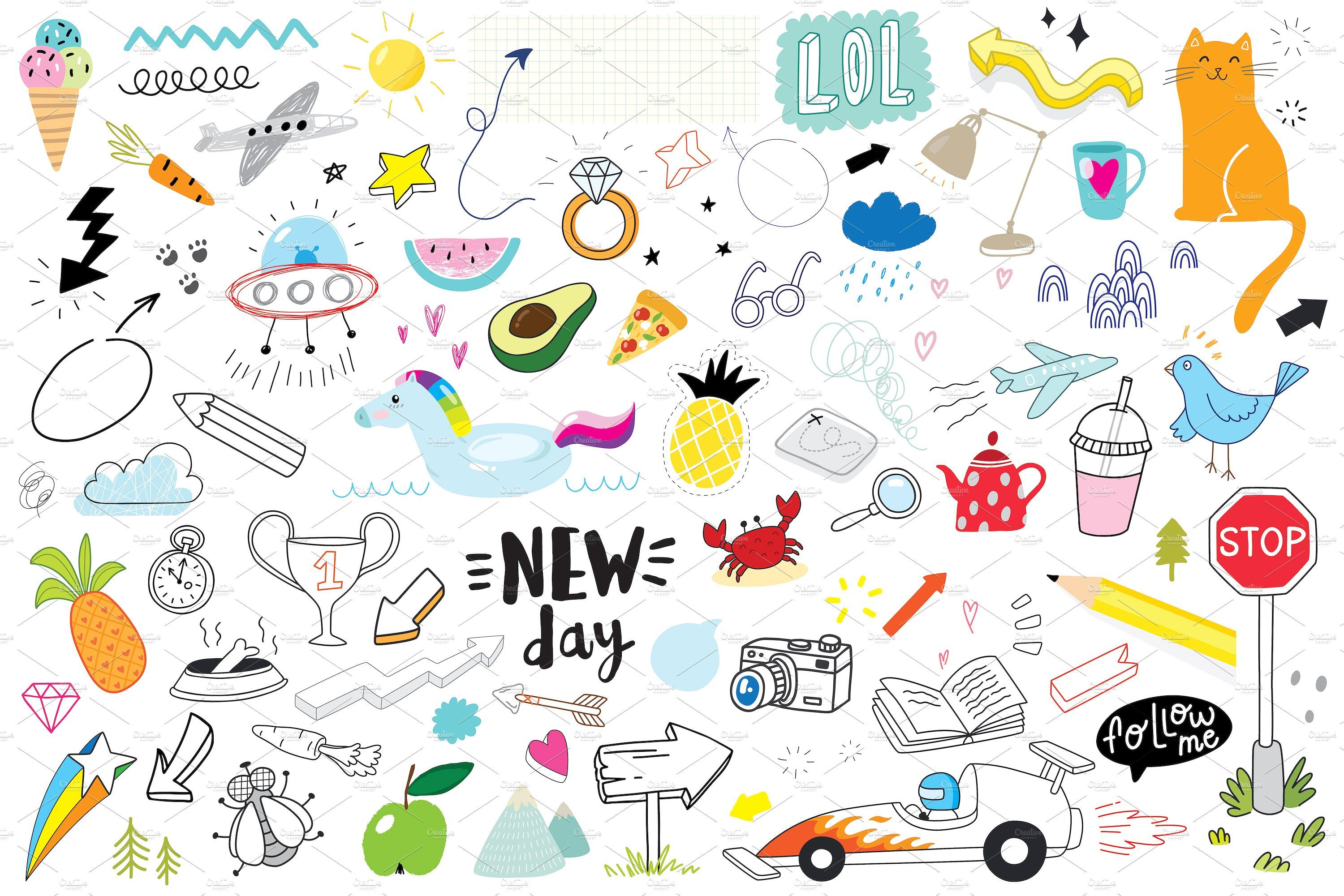 doodle set 2 (80 objects) icon, flaticon, icons, icon pack