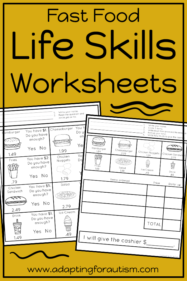 Life Skills Worksheets For Special Education And Autism