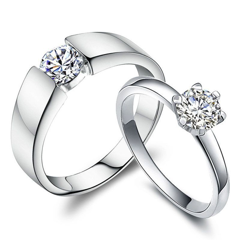 Cubic Zirconia Diamond Couples Rings Set For Women And Men Engagement Wed Engagement Rings Couple Diamond Engagement Ring Set Cheap Diamond Engagement Rings