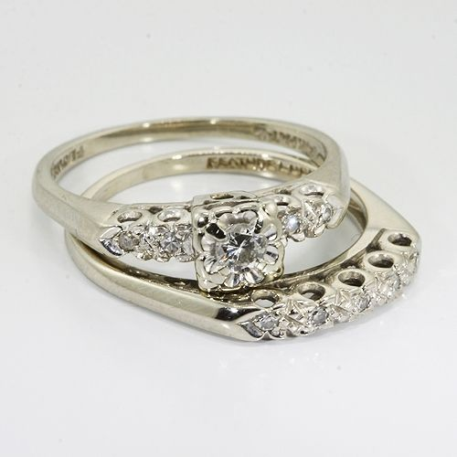 vintage wedding rings 14k white gold diamond vintage wedding ring set online pawn shop - Antique Wedding Ring Sets