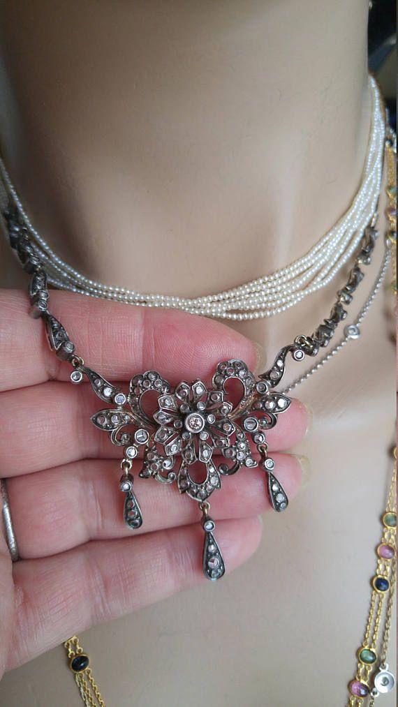 Georgian Rose Cut Diamond Gold Silver Necklace Exeptional