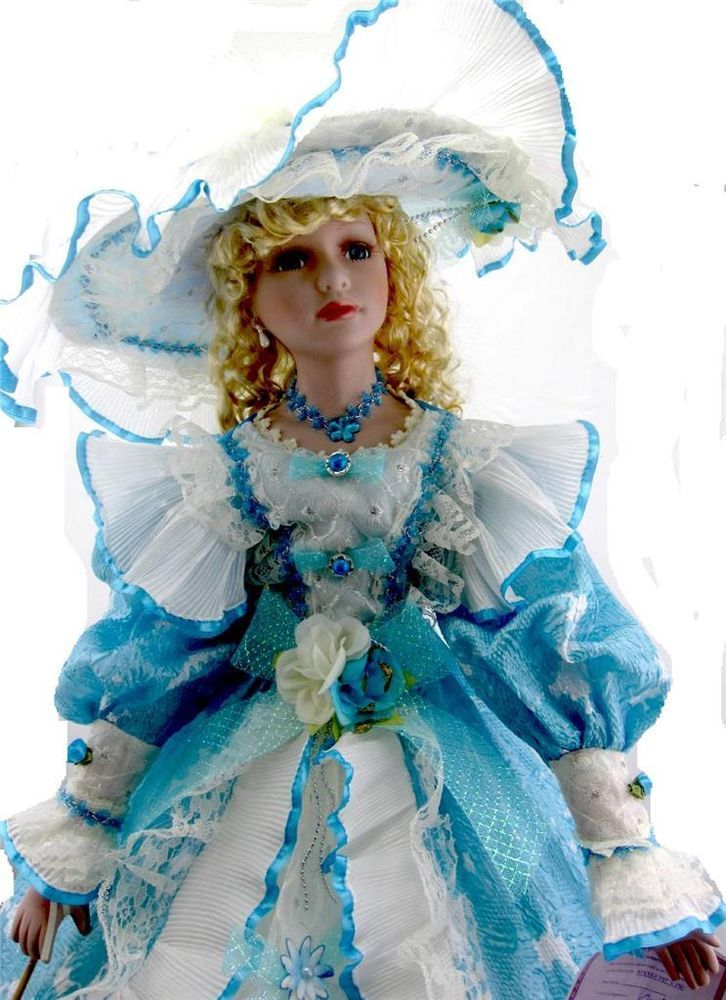 Porcelain Umbrella Doll 38 Quot Tall Victorian Style Blue