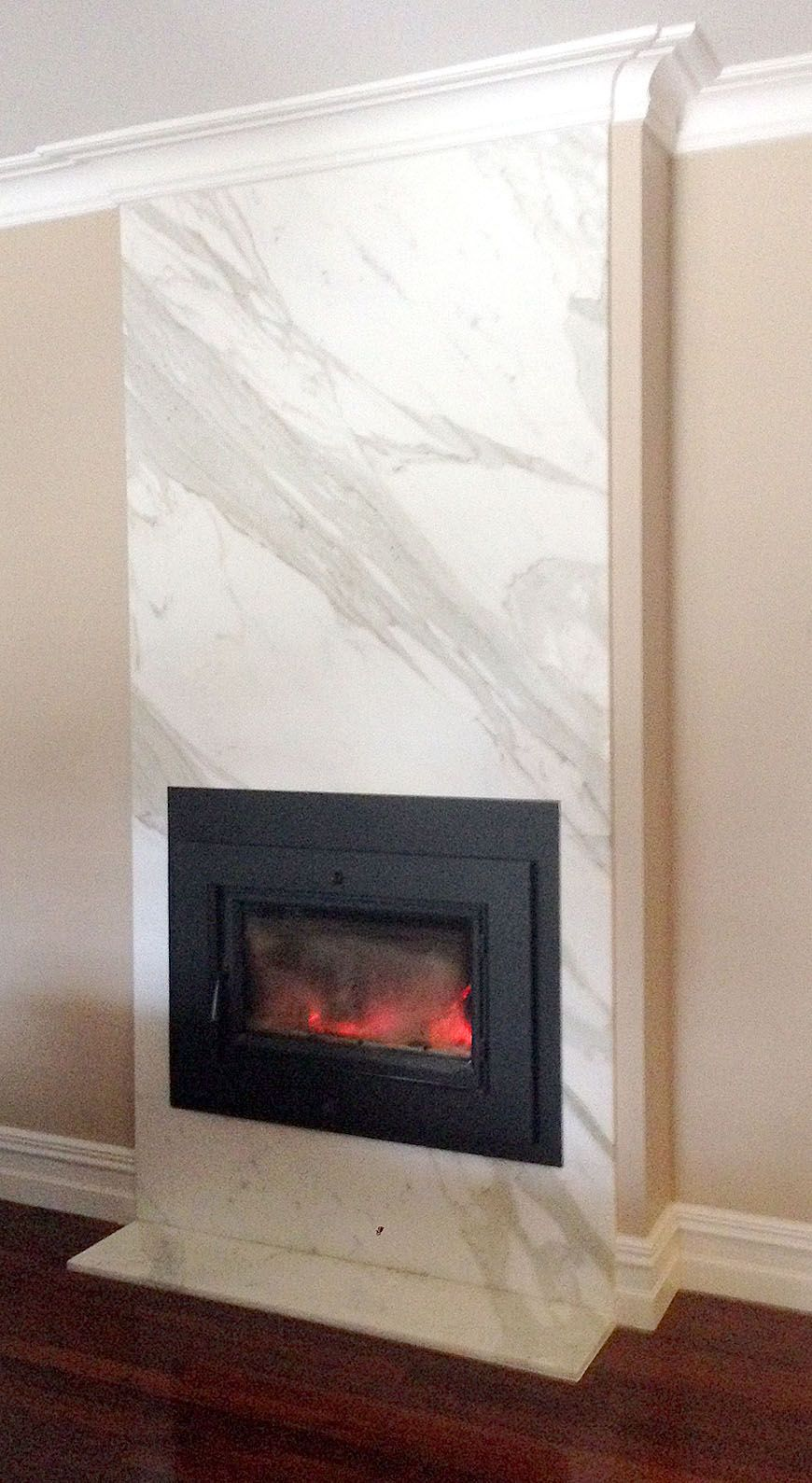 Fireplace Clad In Calacatta Marble Made By Marable Slab House Marable Made By Marable