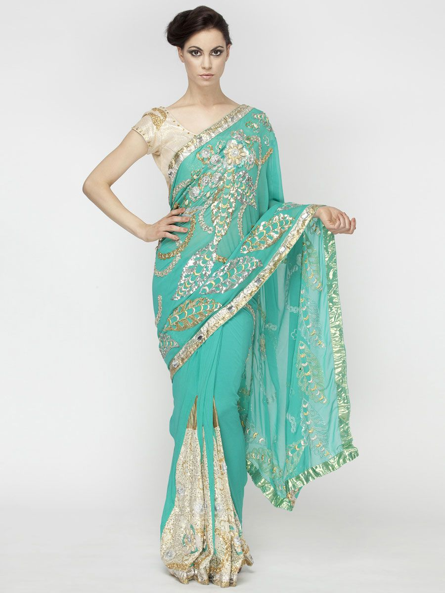 Gota Stone Work Saree by Red Couture | Punjabi Suits & Indian ...