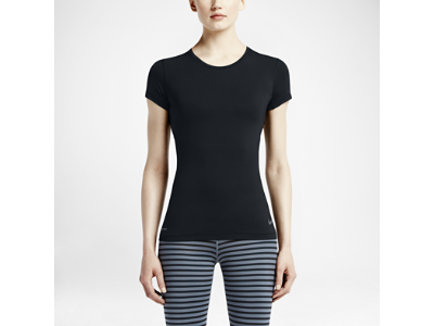 Women Nike Pro Hypercool Short-Sleeve Black/Cool Grey