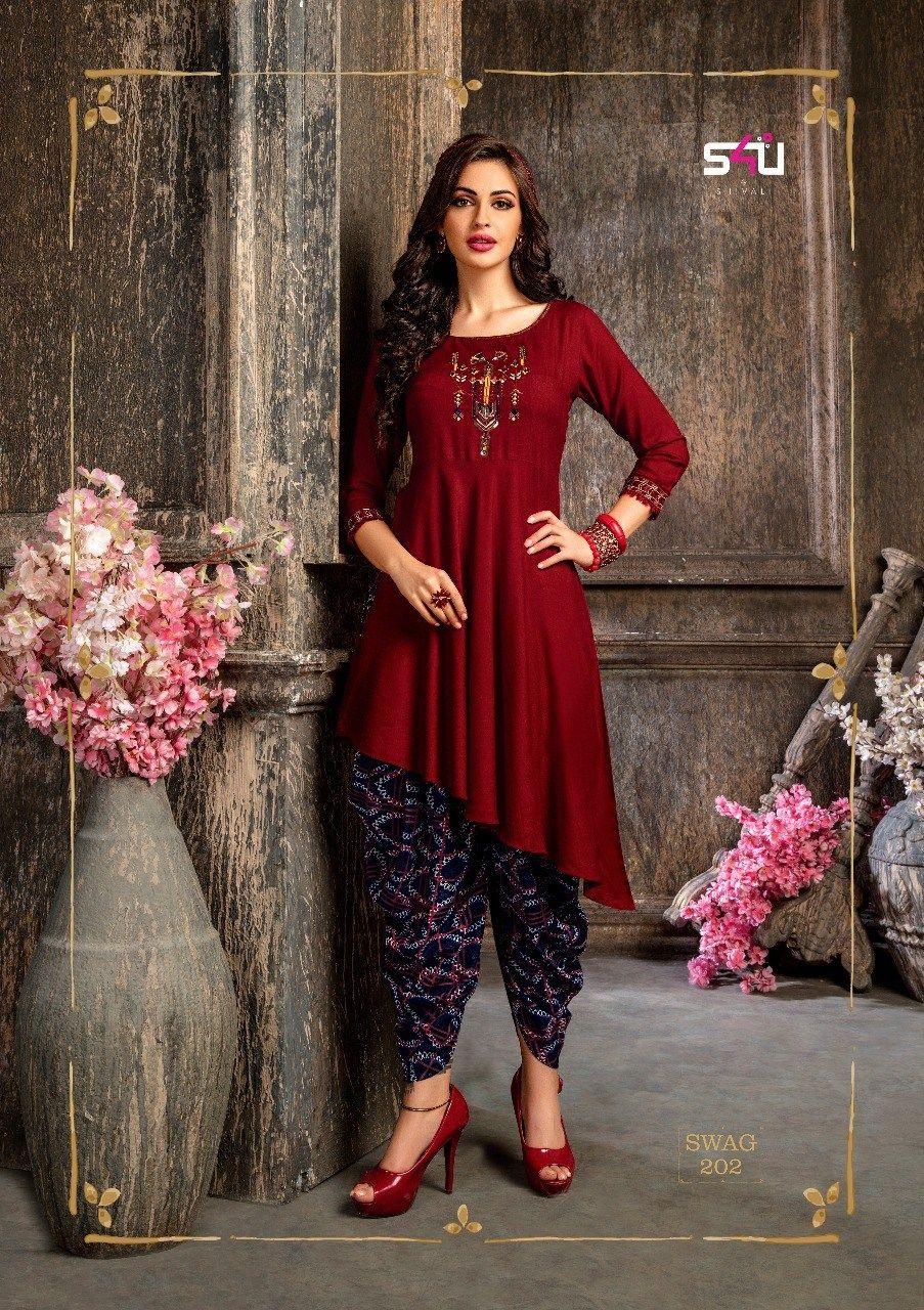 S4u Presenting Swag Vol 2 Modish Kurtis Collection With Pants And Plazzo Designer Kurti Patterns Designer Dresses Indian Kurta Designs Women