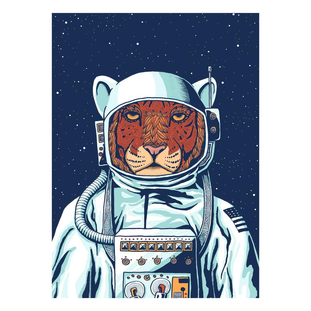 Tiger Astronaut By Priscilla Wilson Animal Illustration Space Cat Print Artist