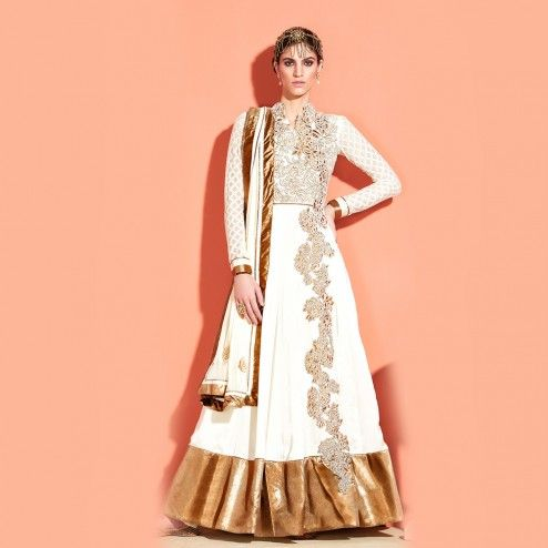 White Floor Touch Anarkali
