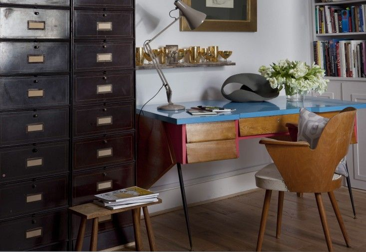 Vintage French postal cabinets, Thonet chair in home office by Kate