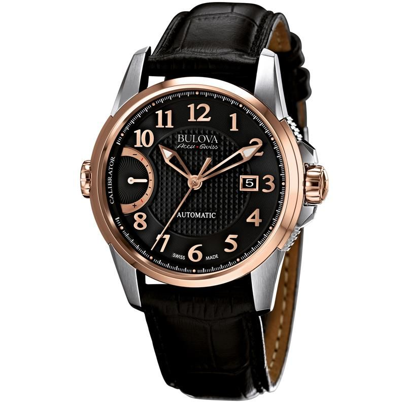 bulova accuswiss calibrator rose gold black dial automatic men s bulova accuswiss calibrator rose gold black dial automatic men s watch 65b154