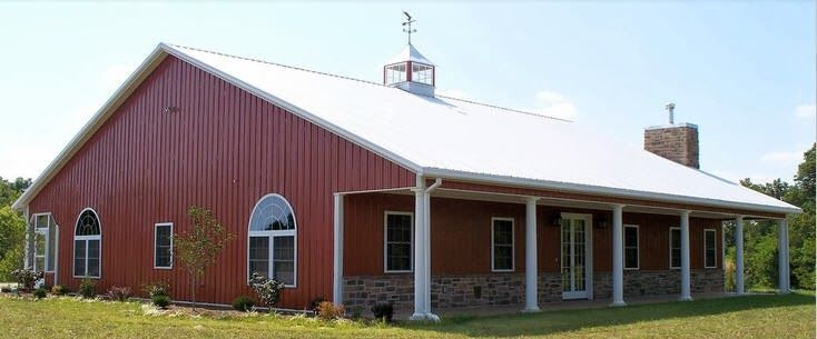 Front of home metal building homes steel buildings for Metal barns converted into homes
