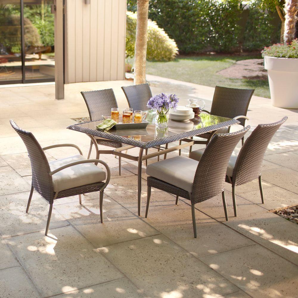 Hampton bay posada piece patio dining set with gray cushions