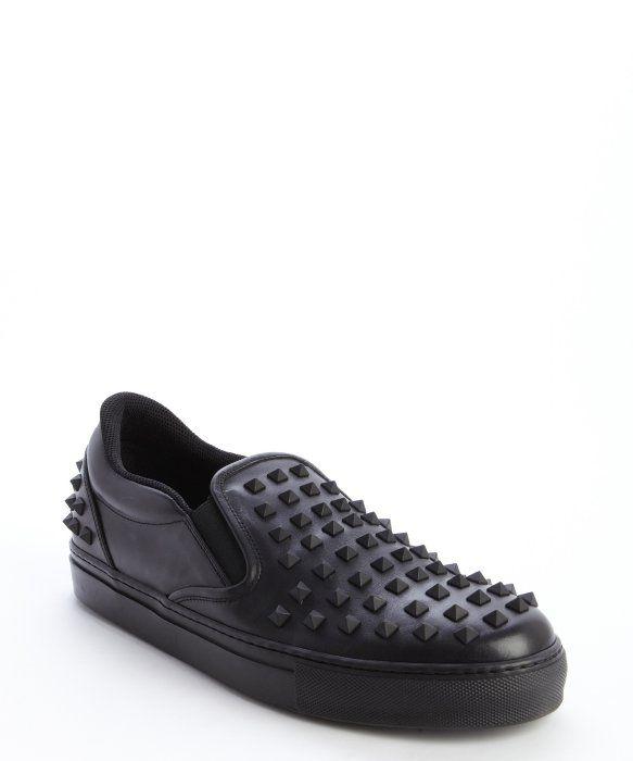 Valentino black leather pyramid studded slip-on sneakers