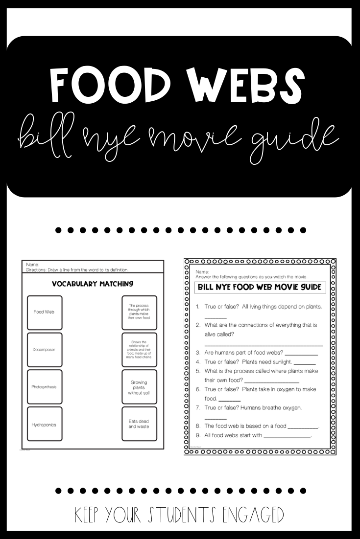 Keep Your Elementary Students Engaged While Watching Bill Nye S Video On Food Webs This Includes Vocabulary Before Watc Food Web Bill Nye Reading Worksheets [ 1102 x 735 Pixel ]