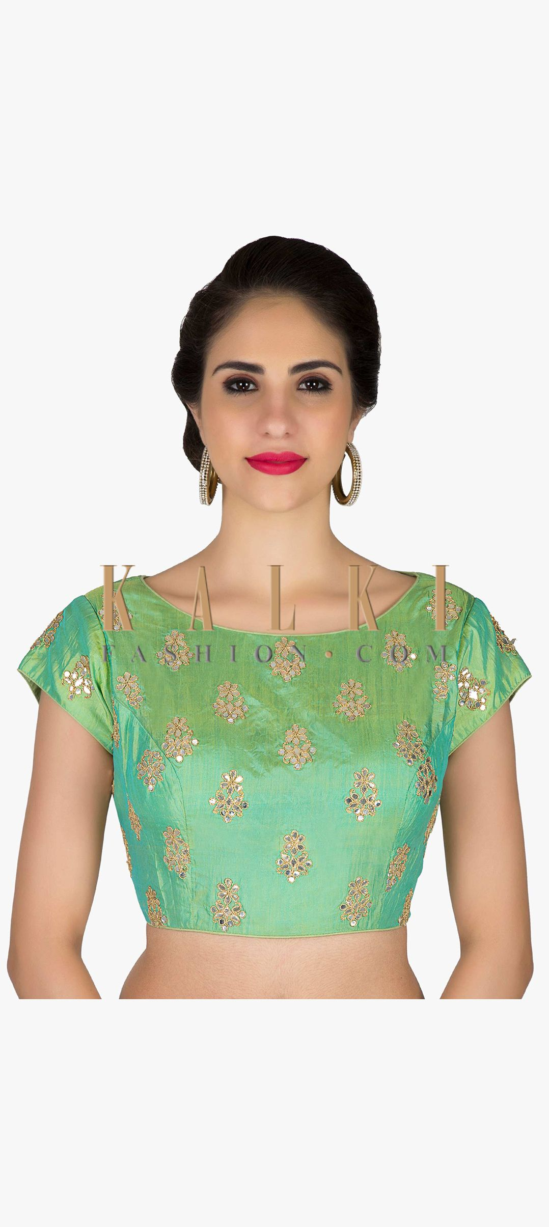 a4acde0a1c1b8 Readymade Sea Green Silk Blouse Featuring Gotta Patch Work only on Kalki