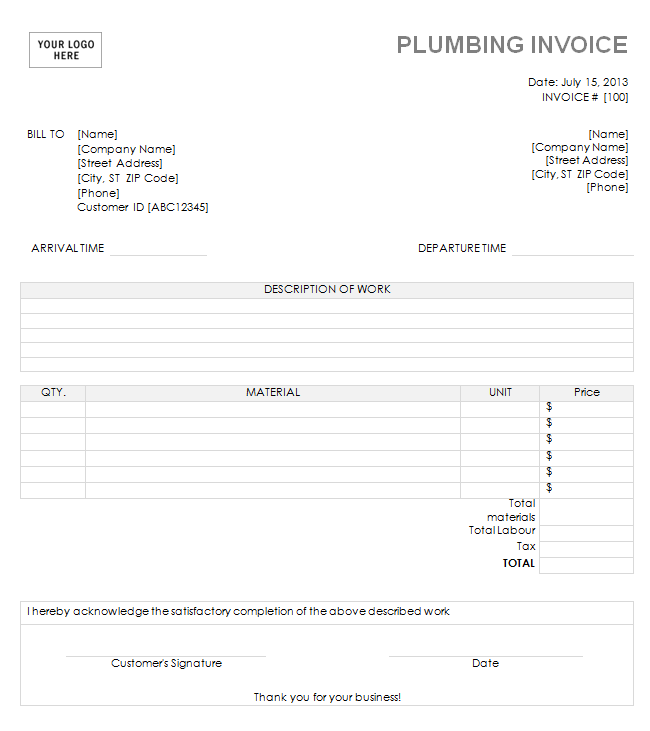 14 Free Plumbing Invoice Templates Demplates Invoice Template Invoice Template Word Invoicing