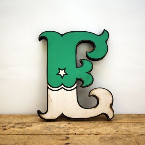 Retro Vintage Style Green and White Carnival Circus Style Wood Letter E Handmade