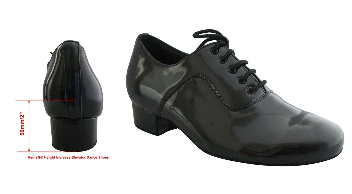 Mens Latin Dance Shoes Black Leather Patent 1 inch Standard and Smooth