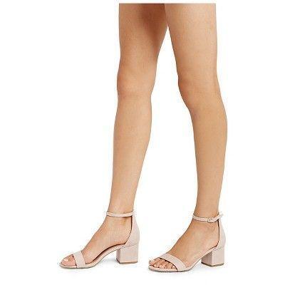 3a2156375d Women's Marcella Low Block Heel Pumps with Ankle Straps Merona - Blush 9.5  #anklestrapsheelslow