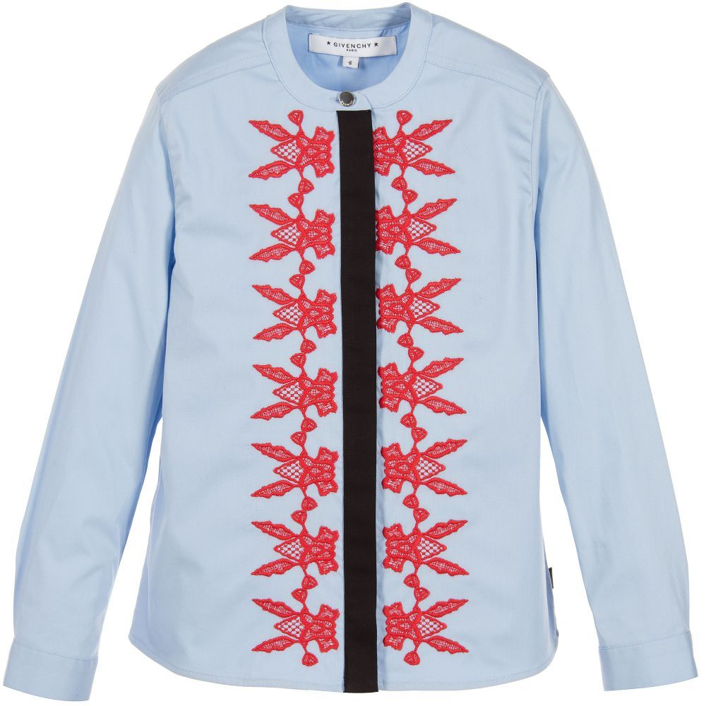 3548ed921437 Givenchy Kids - Girls Blue   Red Lace Shirt