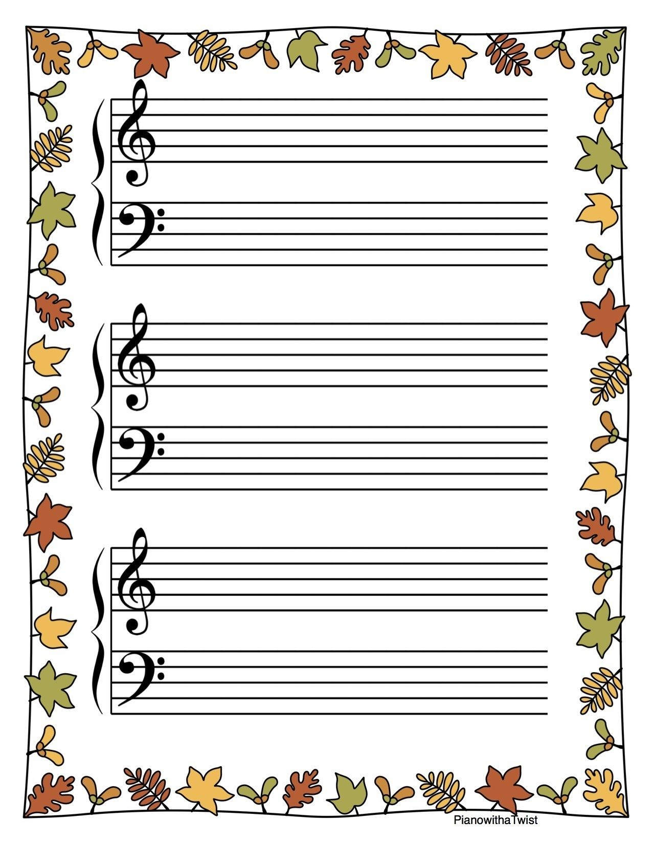 Music Staff Paper: Fall and Thanksgiving Themed | Pianos, Piano ...