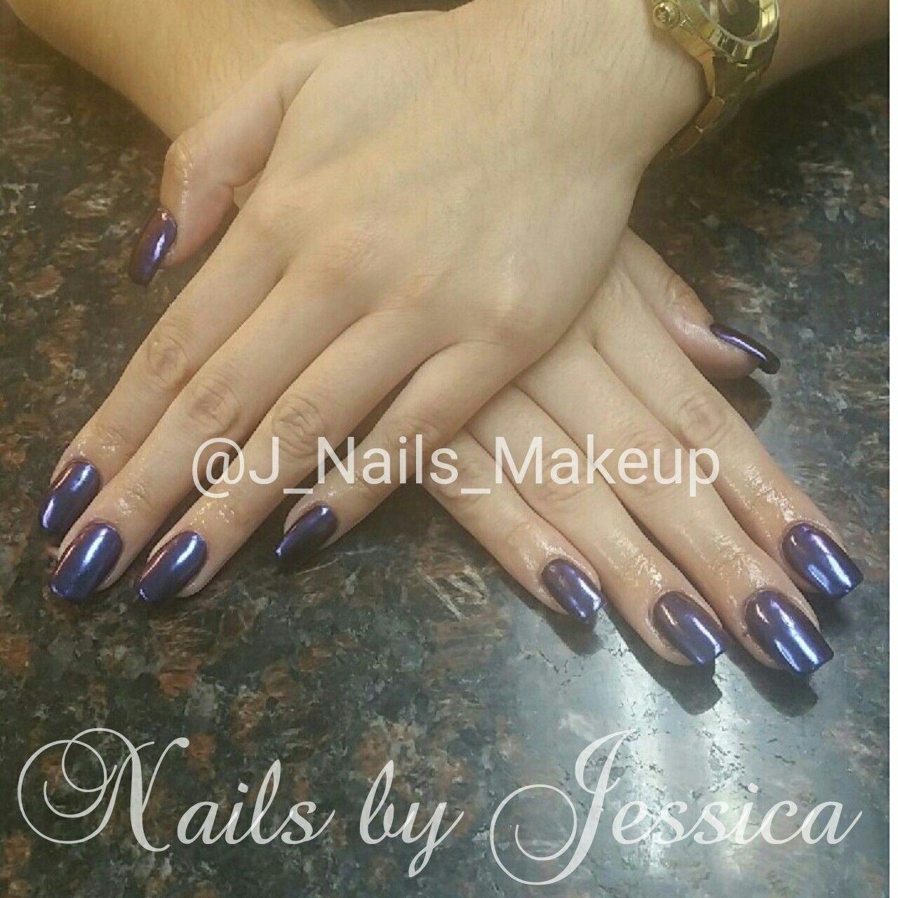 Nexgen dip powder nails with chrome. Nail art purple natural nails ...