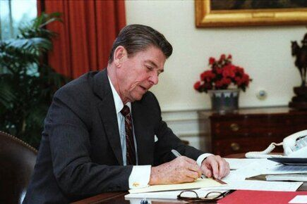 Reagan pens his 1983 State of the Union speech. image uploaded by @ronaldreagan40