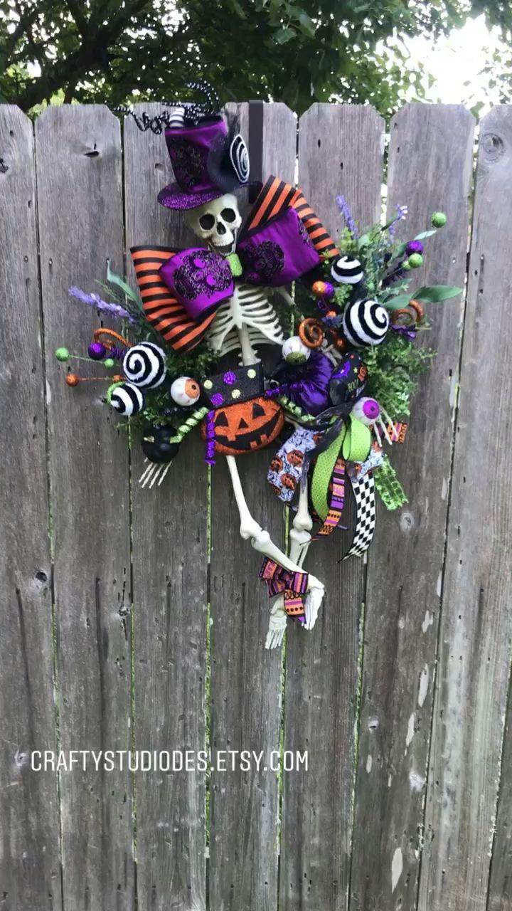 Mr. Bones Wreath, Halloween Wreaths, Halloween Wreaths for front door, Halloween Wreath Ideas