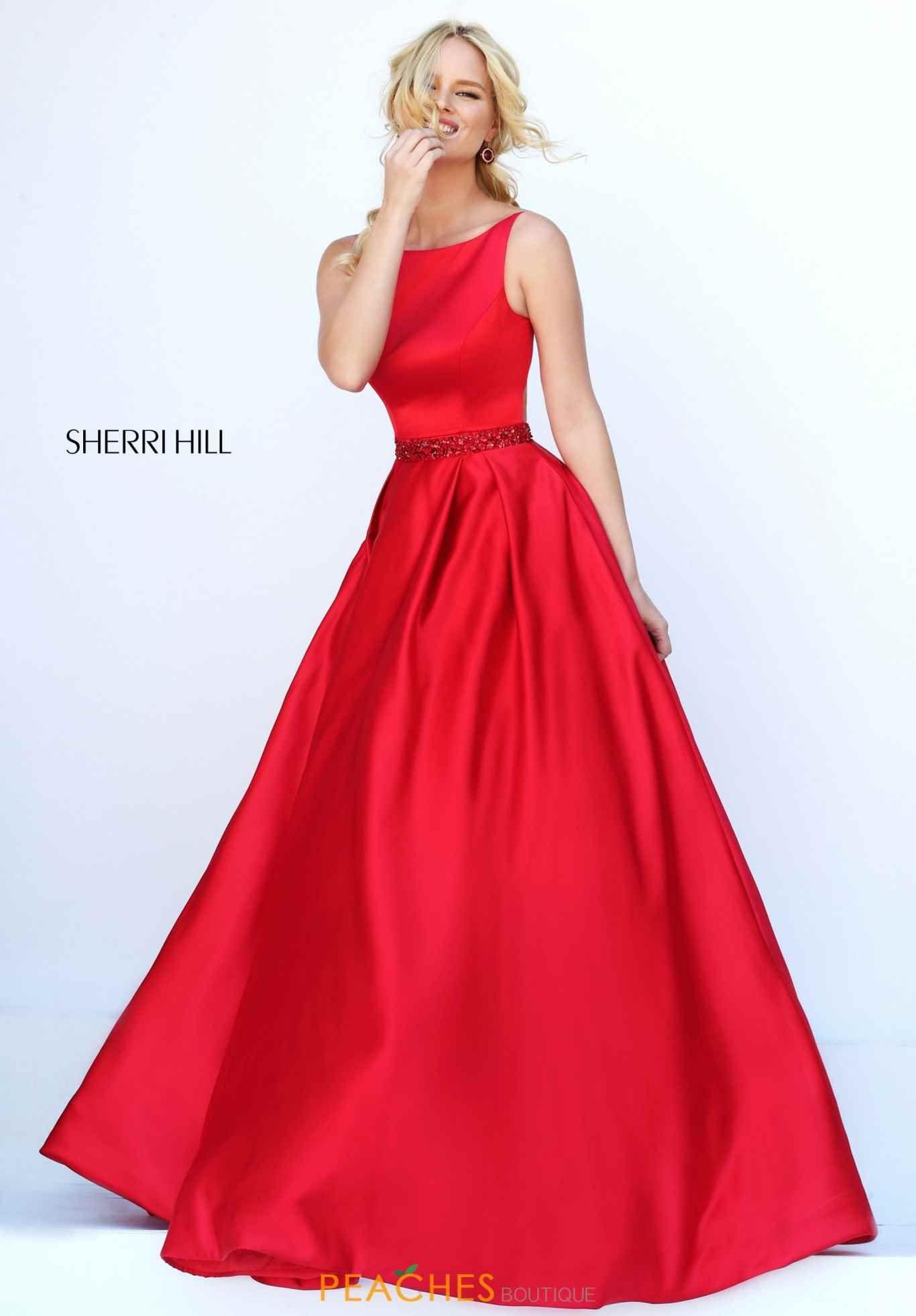 Sherri Hill 50502 Red Beading Haltered Long Cutout Back Prom Dress Spring  2017