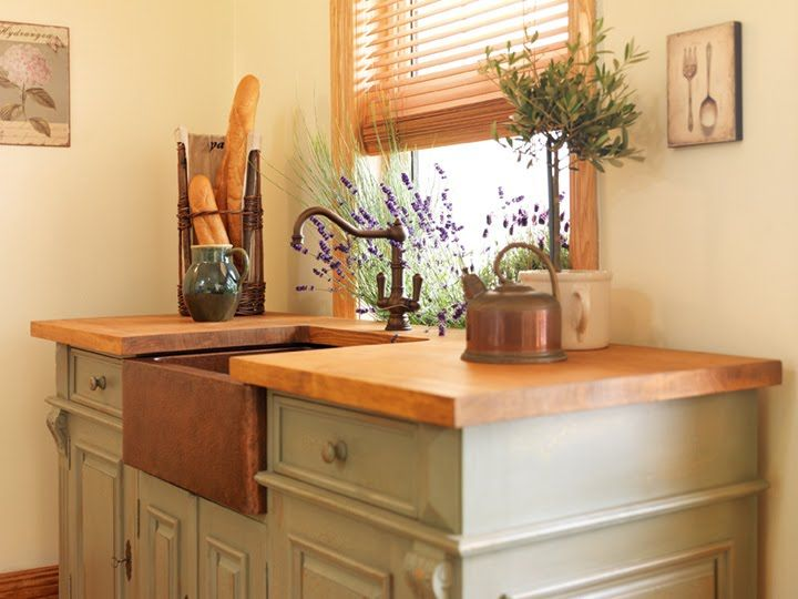 Painted Cabinet Farmhouse Copper Sink And Butcher Block Counters