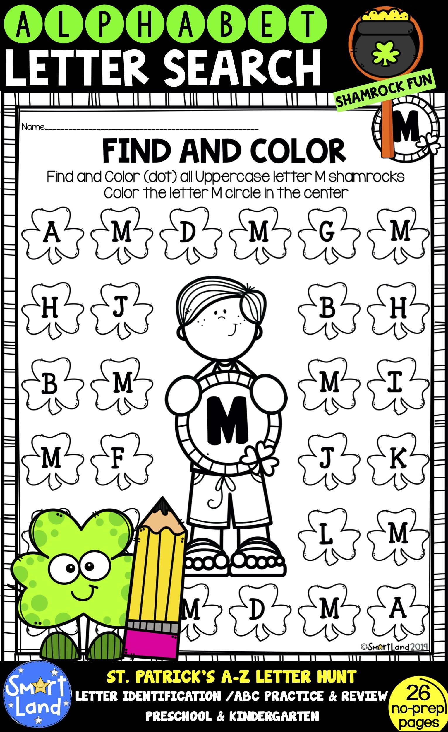 Alphabet Practice Letter Search Shamrock In With