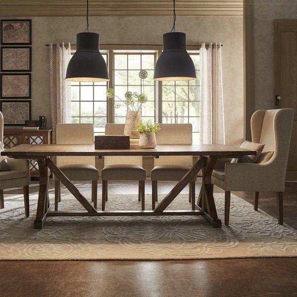 Paloma Rustic Reclaimed Wood Rectangular Trestle Farm Table by ...
