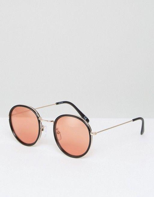 35e5ccf381d262 ASOS Round Sunglasses With Metal Nose Bridge and 70s Orange Colored Lens
