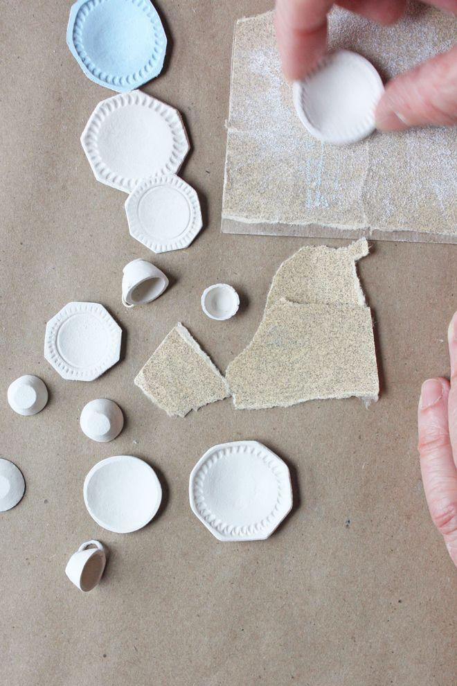 miniature dish tutorial : make tiny teacups and plates #miniaturedolls