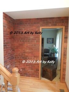 Dimensional faux bricks created with tape, plaster and acrylic paint and a topcoat sealer.