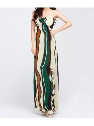 Stripe Strap Beach Maxi Dress