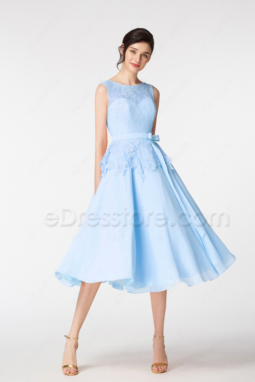 Light blue ball gown short prom dresses tea length quinceanera