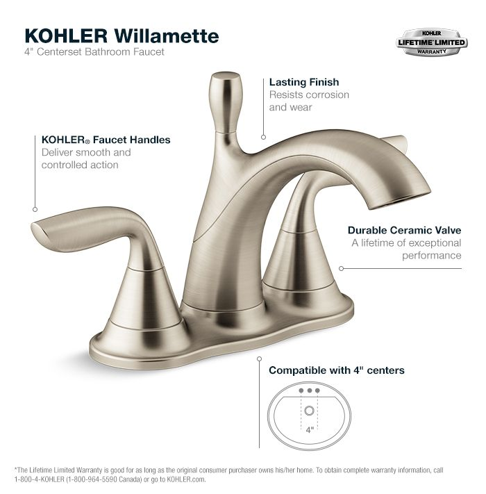 KOHLER Willamette 4 in. Centerset 2-Handle Water-Saving Bathroom ...