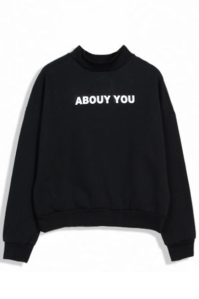 Abouy You Print Stand Collar Sweatshirt