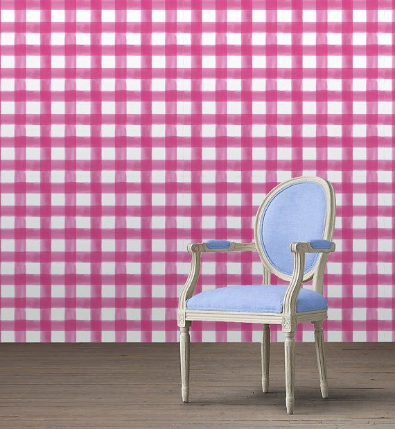 Watercolor Gingham Peel N Stick Wallpaper Custom Lengths