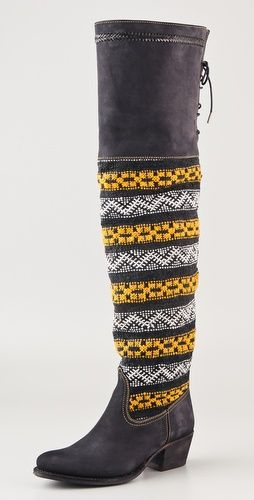 Moroccan wool tapestry Suede Over-the-knee boots. WOW.