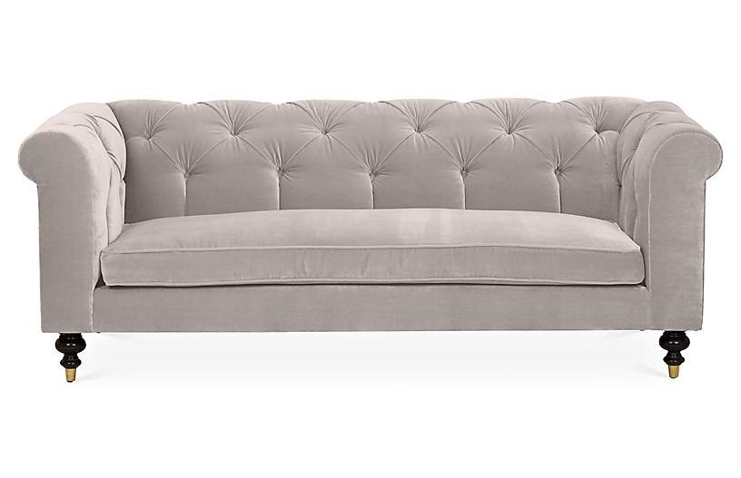 Dexter Tufted Sofa Light Gray Velvet Tufted Sofa Blue Velvet