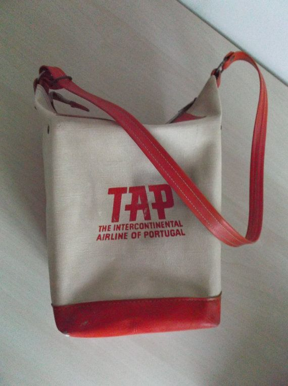 FREE SHIPPING Vintage airline bag 60 s TAP   by yaysales on Etsy ... d0cafa387e
