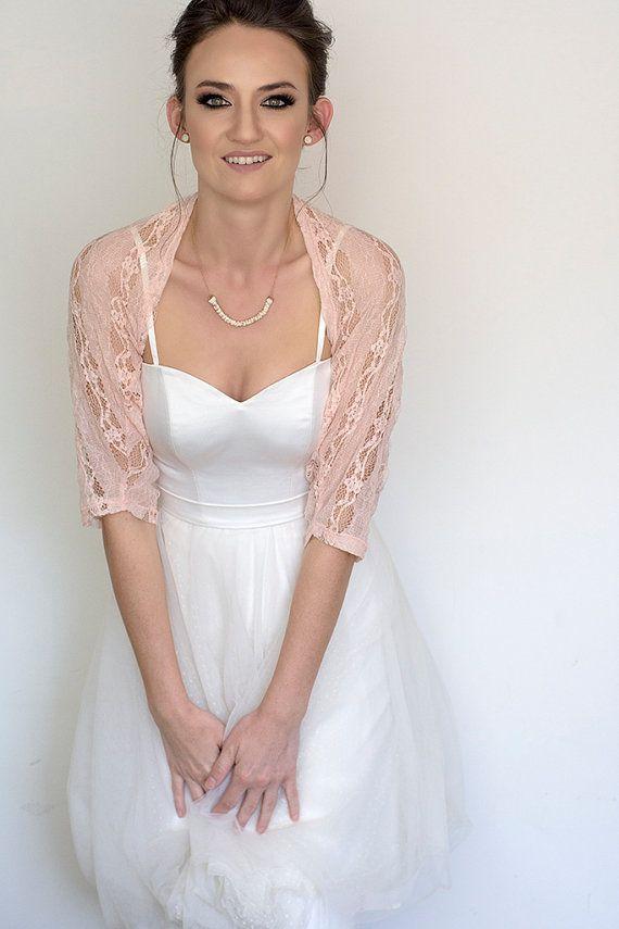 Blush wedding shawl bridal cover up lace shrug romantic by Sheeebz d893662da3dd