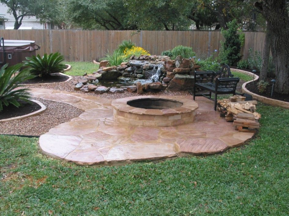 Fire pit landscaping with tile paths fire pit for Small stone patio ideas