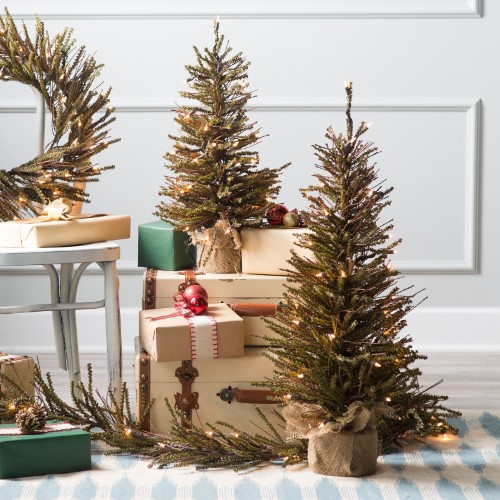 Brown Twig Pre-lit Christmas Tree - Set of 2 by Sterling Tree