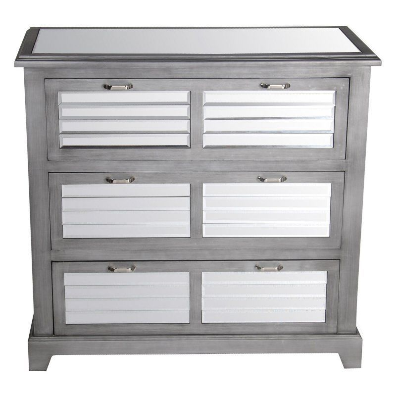 Privilege International Mirror Shutter Accent Stand With 3 Drawers   36 In.    88681