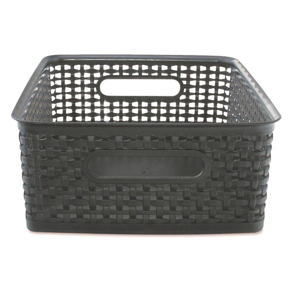 Advantus Weave Bins 13 7 8 X 10 1 2 X 4 3 4 Plastic Black 2 Bins Bins Work Space Organization Storage Supplies
