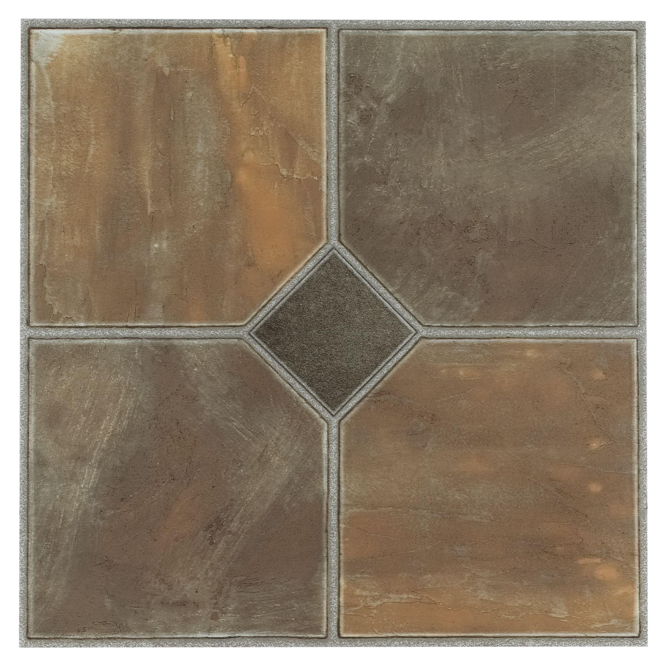 Achim Tivoli Rustic Slate 12x12 Self Adhesive Vinyl Floor Tile 45 Tiles 45 Sq Ft Vinyl Flooring Vinyl Tile Tile Floor