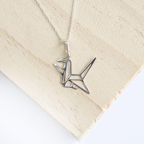 Aderyn crane pendant sterling silver origami crane pendant aderyn crane pendant sterling silver origami crane pendant origami crane necklace crane aloadofball Images
